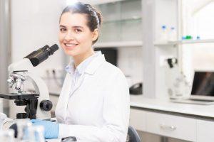 University student in scientific laboratory